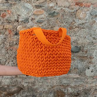 cesta grande de cordón de algodón con asas